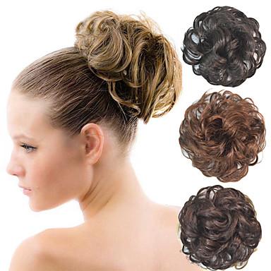 halpa Poninhännät-kihara morsiamen updo nuttura pörröinen pulla synteettisten hiusten pidennykset kappaletta mustia naisia enemmän värejä