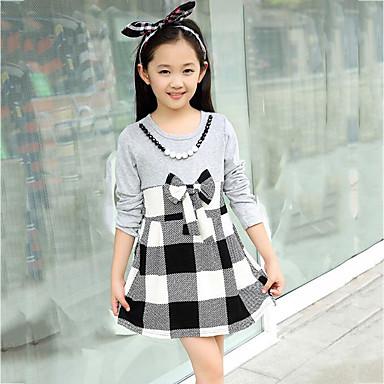 c65c4aa4266c Κορίτσια Φόρεμα Καθημερινά Βαμβάκι Τετράγωνο Καρό Άνοιξη   Φθινόπωρο Λευκή    Γκρι 5121132 2019 –  15.95