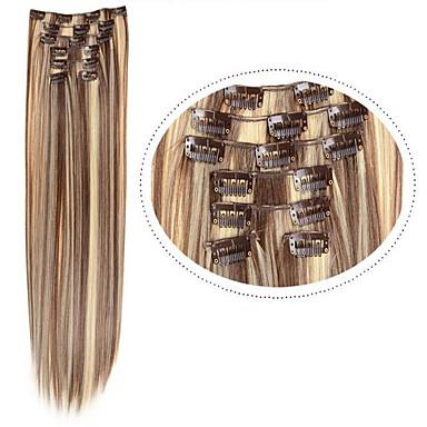 halpa Synteettiset hiuspidennykset-Hiuspalanen Suora Classic Synteettiset hiukset Hiusten pidennys Clip In Päivittäin