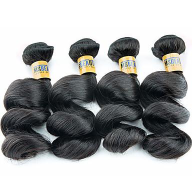 povoljno Ekstenzije od ljudske kose-4 paketića Brazilska kosa Valovita kosa Virgin kosa Ljudske kose plete 10-28 inch Isprepliće ljudske kose Proširenja ljudske kose / 10A