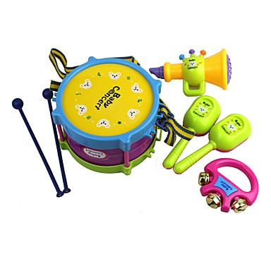 preiswerte Spielzeuginstrumente-Schlagzeugset Knete Urlaub Musik Instrumente Spaß Kunststoff 5 pcs Kinder Jungen Mädchen Spielzeuge Geschenk