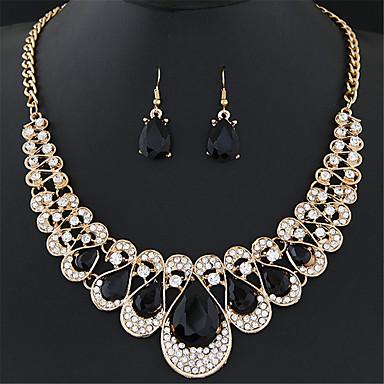 cheap Jewelry Sets-Women's Synthetic Ruby Jewelry Set Drop Earrings Statement Necklace Pear Cut Drop Ladies Luxury European Fashion Elegant everyday Imitation Diamond Earrings Jewelry Blue / Rainbow / Champagne For