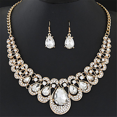 cheap Jewelry Sets-Women's Synthetic Ruby Jewelry Set Drop Earrings Statement Necklace Pear Cut Drop Ladies Luxury European Fashion Elegant everyday Imitation Diamond Earrings Jewelry Blue / Rainbow / Champagne For