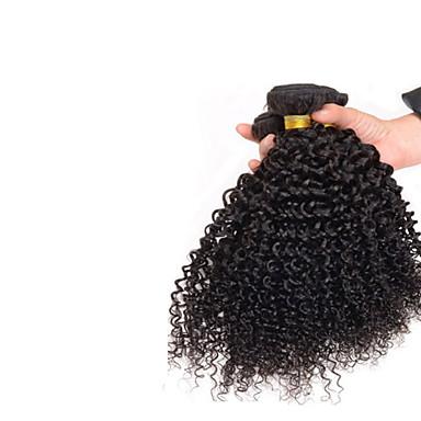 3 paket Mongoliskt hår Lockigt Afro Curly Weave Äkta hår Human Hår vävar Hårförlängning av äkta hår Människohår förlängningar / 8A / Sexigt Lockigt