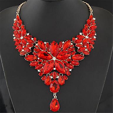 povoljno Modne ogrlice-Žene Kristal Izjava Ogrlice Bib ogrlice zdepast jeftino dame Barroco Elegantno Legura Crvena Svjetloplav Duga 40+5 cm Ogrlice Jewelry 1pc Za Vjenčanje Party godišnjica Maškare Zaručnička zabava Prom