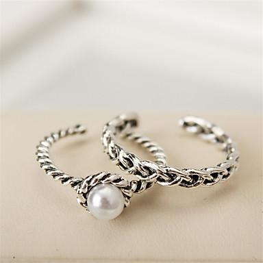 billige Motering-Dame Midi Ring tommelfingerring Sølv Perle Luksus Vintage Mote Avslappet Arbeid Smykker Artisan Billig Justerbar