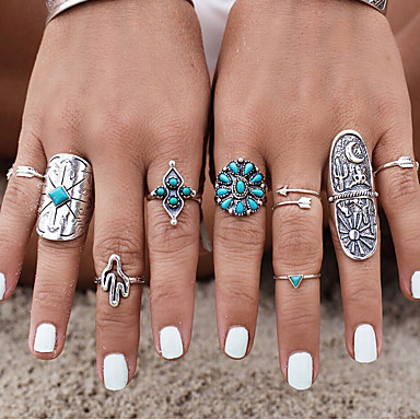 4X Silber Vintage Elefant Ring Set Frauen Retro Finger Ringe Boho Stil  Sm