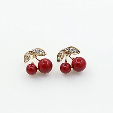 levne Dámské šperky-Dámské Peckové náušnice Leaf Shape Třešňová Módní Štras Náušnice Šperky Zlatá Pro Denní Rande