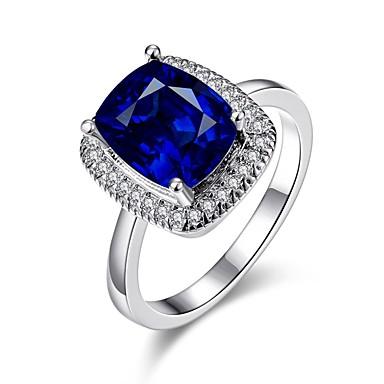 Dam Bandring Marinblå 18K Guldpläterad Ädelsten Guldpläterad Fyrkantig Vintage Mode Elegant Bröllop Party Smycken Cocktail Ring