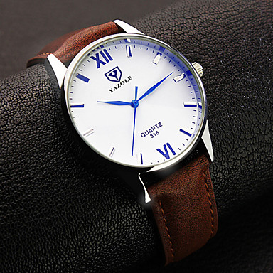 levne Pánské-YAZOLE Pánské Náramkové hodinky Křemenný Kůže Černá / Hnědá Analogové Klasické Jednoduché hodinky - Černá Hnědá