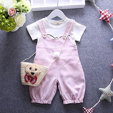 povoljno Odjeća za bebe-Dijete Djevojčice Crtići Dnevno Print Kratkih rukava Kratka Pamuk Komplet odjeće Crvena / Dijete koje je tek prohodalo