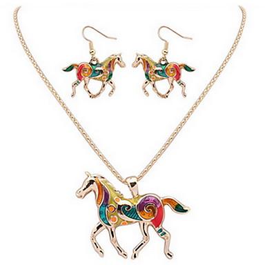 levne Dámské šperky-Dámské Náhrdelník / náušnice Kůň dámy Barva Náušnice Šperky Stříbrná / Zlatá Pro Denní Ležérní / Náhrdelníky