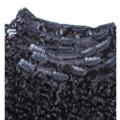 preiswerte Echthaar Haarverlängerungen-Mit Clip Haarverlängerungen Locken Kinky Curly Echthaar Peruanisches Haar Schwarz