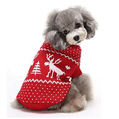 preiswerte Haustier Weihnachten Kostüm-Katze Hund Pullover Winter Hundekleidung Rot Blau Kostüm Baumwolle Rentier warm halten Weihnachten XS S M L XL XXL