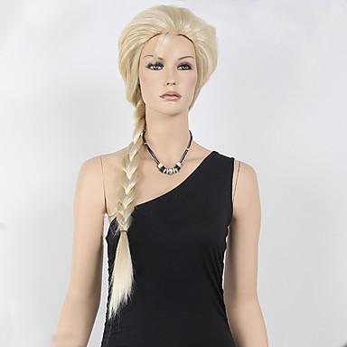 billige Kostymeparykk-Syntetiske parykker Kostymeparykker Krøllet Stil Parykk Blond Lang Blond Syntetisk hår Dame Parykk med fletter Blond Parykk