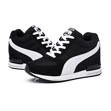 preiswerte Damenschuhe-Damen Sneakers Keilabsatz Schnürsenkel / Kombination Tüll Komfort Frühling / Herbst Schwarz / Blau