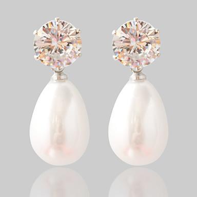Žene Sintetički dijamant Sitne naušnice Moda Biseri Naušnice Jewelry Pink Za Vjenčanje Party