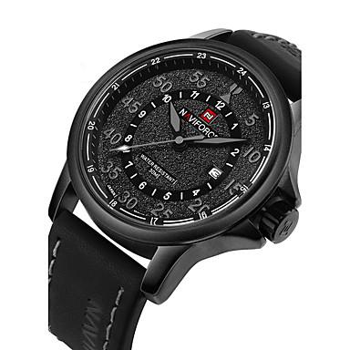 NAVIFORCE Pánské Módní hodinky Vojenské hodinky Náramkové hodinky Křemenný  Japonské Quartz Kůže Černá   Hnědá 30 m Voděodolné Kalendář Cool Analogové  Luxus ... 8b68b3ad7c