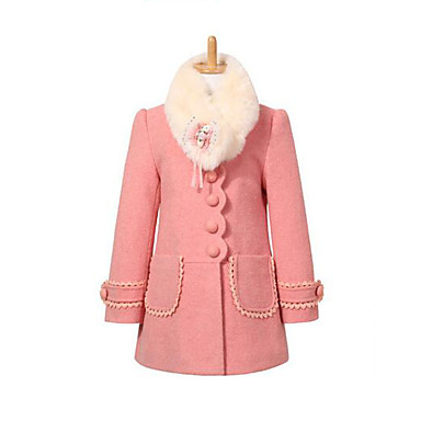 cheap Girls' Jackets & Coats-Kids Girls' Daily Patchwork Long Sleeve Long Jacket & Coat Red