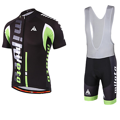 Miloto Men s Short Sleeve Cycling Jersey with Bib Shorts Bike Bib Shorts  Jersey Bib Tights Breathable Quick Dry Sweat-wicking Sports Polyester Lycra  Sports ... a63ad8a70