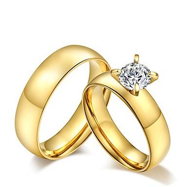 billige Motering-Unisex Parringer Band Ring Diamant Kubisk Zirkonium moissanite Gylden Kubisk Zirkonium Titanium Stål damer dusk Vintage Bryllup Fest Smykker Solitaire Rund