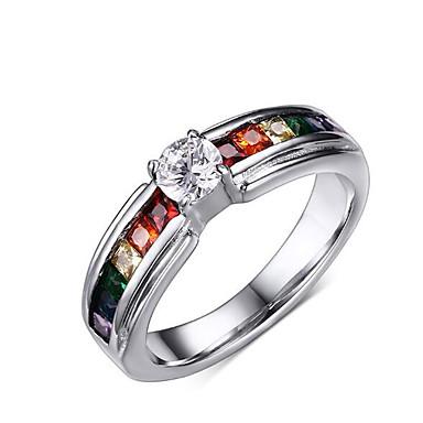 voordelige Herensieraden-Heren Bandring Synthetische Diamant Zilver Titanium Staal Gesimuleerde diamant Gepersonaliseerde Luxe Kerstcadeaus Bruiloft Sieraden