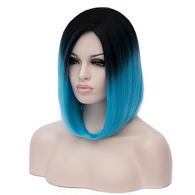 billige Kostymeparykk-Syntetiske parykker Kostymeparykker Rett Stil Parykk Blå Syntetisk hår Dame Ombre-hår Blå Parykk Kort Medium Lengde