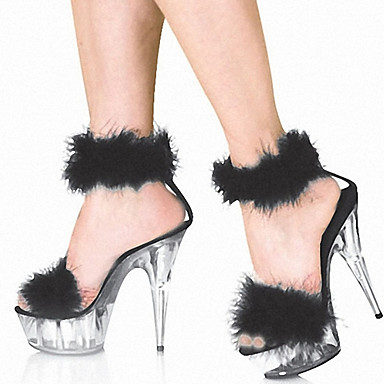 cheap Women's Sandals-Women's Sandals Sexy Shoes Furry Feather Platform Sandals Platform Stiletto Heel Open Toe Sexy Sweet Wedding Party & Evening Feather Solid Colored Patent Leather Customized Materials Summer Black