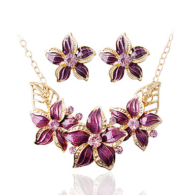 povoljno Komplet nakita-Žene Svadbeni nakit Setovi Naušnice Jewelry Crn / Plava / Tamno crvena Za Vjenčanje Party Dnevno