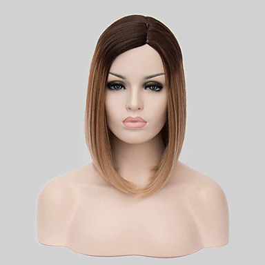 Szintetikus parókák Egyenes Bob frizura Bretonnal Ombre haj Női Sapka  nélküli fekete paróka Közepes Szintetikus haj 5175535 2018 –  15.29 2c2f7bce30