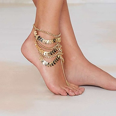 cheap Costumes Jewelry-Anklet Barefoot Sandals Statement Ladies Unique Design Women's Body Jewelry For Party Daily Layered Tassel Fringe Stacking Stackable Gold Plated Yellow Gold Alloy Golden 1pc