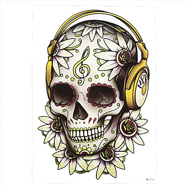 1pc Fake Diy Decal Flower Skull Headset Music Note Pattern Temporary
