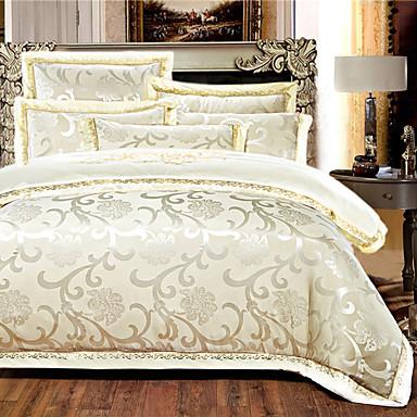 cheap Duvet Covers-Duvet Cover Sets 4 Piece Silk Luxury Beige Embroidery Luxury / 500 / 4pcs (1 Duvet Cover, 1 Flat Sheet, 2 Shams)