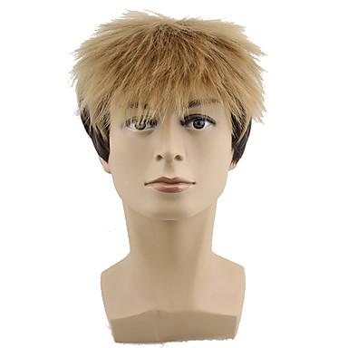 billige Kostymeparykk-Syntetiske parykker Bølget Stil Parykk Blond Blond Syntetisk hår Herre Blond Parykk