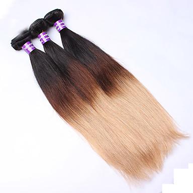 povoljno Ekstenzije za kosu-3 paketa Euroazijska kosa Ravan kroj Klasika Virgin kosa Ombre 14-26 inch Ombre Isprepliće ljudske kose Proširenja ljudske kose / 10A
