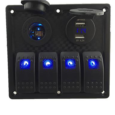 billige Bildeler-12V-24V Dc 4 Gjengen Vanntett Marine Blå LED Bytte Panel Med LED Stikkontakten og 4.2A USB Voltmeter