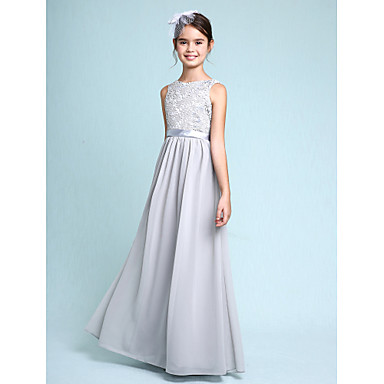 cheap Baby & Kids-Sheath / Column Bateau Neck Floor Length Chiffon / Lace Junior Bridesmaid Dress with Lace / Natural