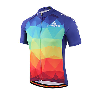Miloto Men s Women s Unisex Short Sleeve Cycling Jersey - Blue+Red Gradient  Plus Size Bike Shirt Sweatshirt Jersey Breathable Quick Dry Reflective  Strips ... d22c466fc