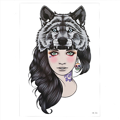 854090859 1pc Women Wolf Head Girl Skull Flower Arm Body Back Art Decal Temporary  Tattoo Women Men Tattoo Sticker HB-206 5203988 2019 – $0.99