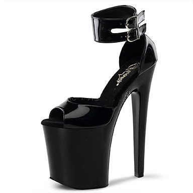Women's Shoes Patent Leather Spring / Summer Light Shoes / Club Shoes Heels Stiletto Heel / Platform Buckle / Hollow-out Black / Red