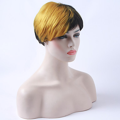 billige Kostymeparykk-Syntetiske parykker Rett Stil Lokkløs Parykk Regnbue Syntetisk hår Dame Afroamerikansk parykk Parykk hairjoy
