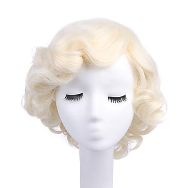billige Kostymeparykk-Syntetiske parykker Kostymeparykker Krøllet Stil Parykk Blond Bleik Blond Syntetisk hår Dame Blond Parykk StrongBeauty