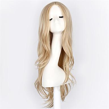 billige Kostymeparykk-Syntetiske parykker Kostymeparykker Bølget Stil Parykk Blond Blond Syntetisk hår Blond Parykk