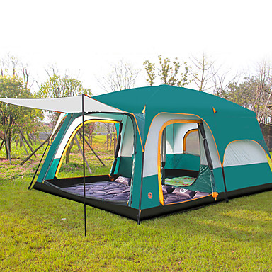 cheap Tents, Canopies & Shelters-Shamocamel® 8 person Family Tent Outdoor Waterproof, Well-ventilated, Breathability Double Layered Poled Instant Cabin Camping Tent Two Rooms >3000 mm for Camping / Hiking Polyester, Polyster