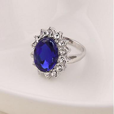levne Dámské šperky-Dámské Vyzvánění Safír Kubický zirkon Stříbrná Zirkon Slitina Prohlášení dámy Módní Svatební Párty Šperky Solitaire Oval HALO Koktejl prsten