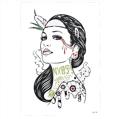 1pc Beauty Women Girl Smoking Feather Makeup Pattern Design Women