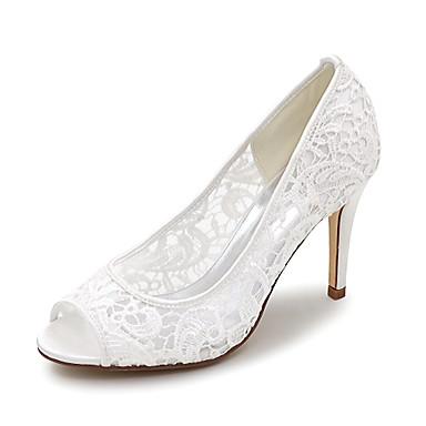 cheap Wedding Shoes-Women's Wedding Shoes Mesh Stiletto Heel Peep Toe Satin Basic Pump Spring / Summer Pink / White / Ivory / Party & Evening / EU41