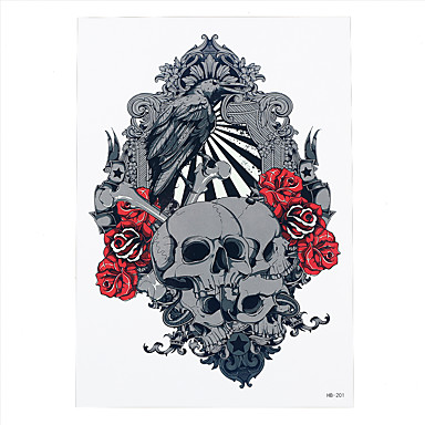 1pc Skull Bone Armour Eagle Rose Flower Arm Body Art Tattoo