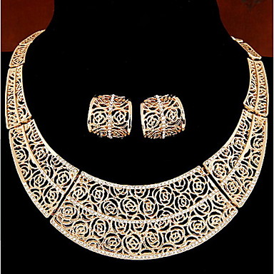 cheap Jewelry Sets-Women's Jewelry Set Hoop Earrings Necklace / Earrings Vintage Earrings Jewelry Silver / Golden For Daily Casual