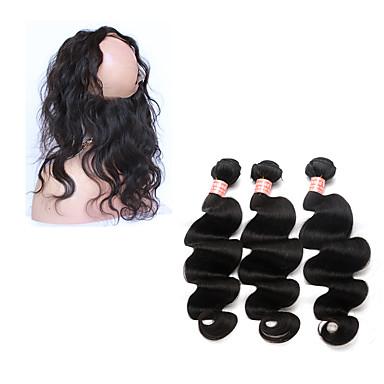 povoljno Ekstenzije od ljudske kose-4 paketića Brazilska kosa 360 Frontal Tijelo Wave Ljudska kosa Kosa potke zatvaranje Isprepliće ljudske kose Proširenja ljudske kose / 8A